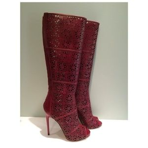 New Paul Andrew Laser Cut Open Toe Leather Boot